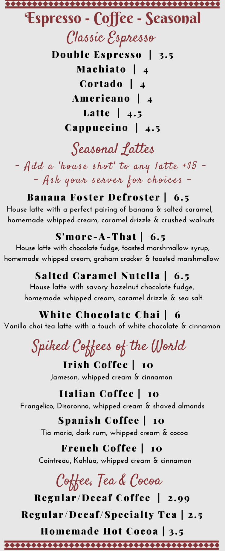 Espresso/Coffee Menu